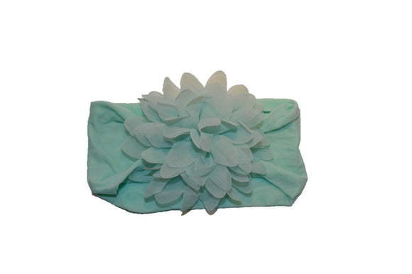 Light Aqua Wide Nylon Chiffon Flower Baby Headband - Dream Lily Designs