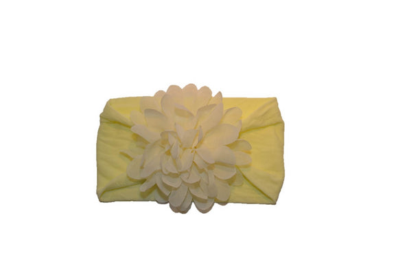 Pale Yellow Wide Nylon Chiffon Flower Baby Headband - Dream Lily Designs