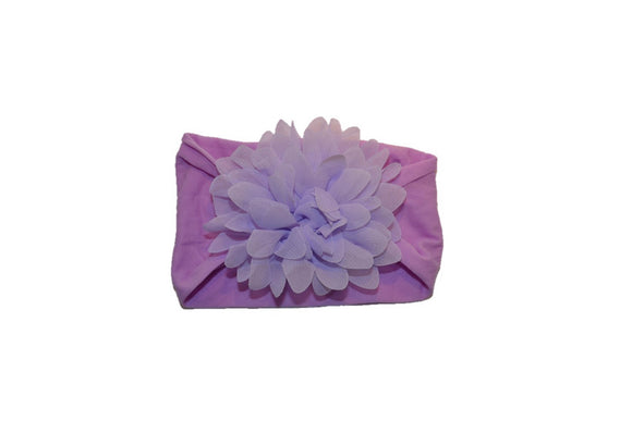 Light Purple Wide Nylon Chiffon Flower Baby Headband - Dream Lily Designs