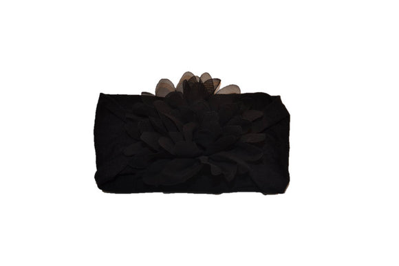 Black Wide Nylon Chiffon Flower Baby Headband - Dream Lily Designs