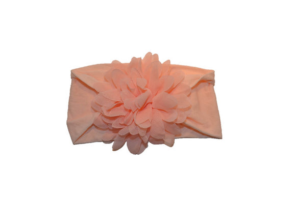 Light Pink Wide Nylon Chiffon Flower Baby Headband - Dream Lily Designs
