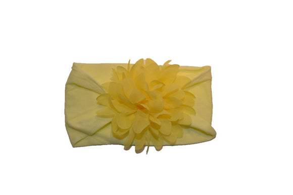 Yellow Wide Nylon Chiffon Flower Baby Headband - Dream Lily Designs