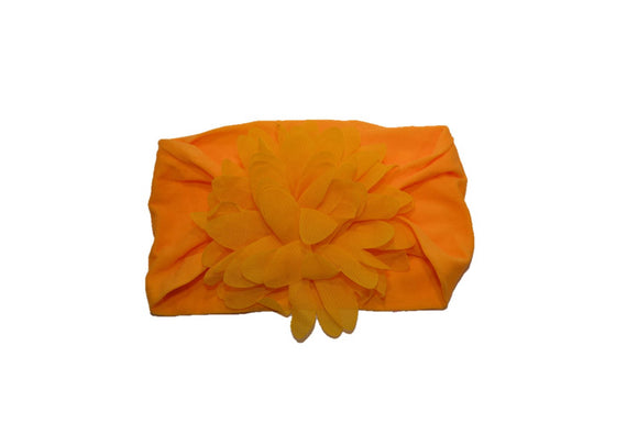 Orange Wide Nylon Chiffon Flower Baby Headband - Dream Lily Designs