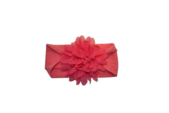 Pink Wide Nylon Chiffon Flower Baby Headband - Dream Lily Designs