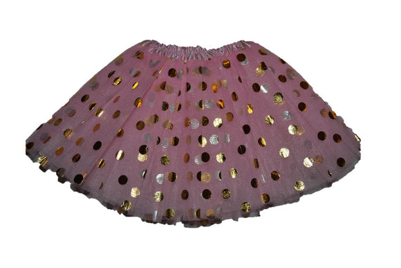 Light Pink Gold Silver Polka Dot Tutu Child