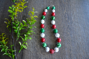 "Red Green White Christmas Chunky ""Bubblegum Bead"" Necklace - Dream Lily Designs"