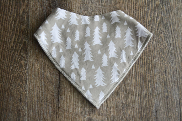 Grey White Christmas Tree Bandana Bib - Dream Lily Designs
