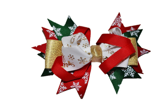 Gold Merry Christmas Red Dark Green Boutique Christmas Hair Bow (Holidays)