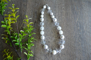 "Clear White ""Bubblegum Bead"" Necklace - Dream Lily Designs"