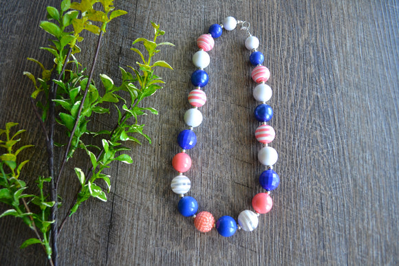 Coral Royal Blue White Chunky