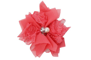 Coral Lace Crystal Pearl Flower Hair Clip - Dream Lily Designs