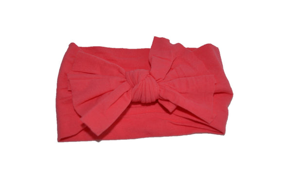 Coral Nylon Ragged Knot Baby Wide Headband - Dream Lily Designs