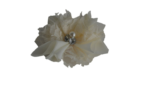 Ivory Lace Crystal Pearl Flower Hair Clip - Dream Lily Designs