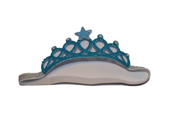 Glitter Crown Headband - Blue Star and White Crystals - Dream Lily Designs