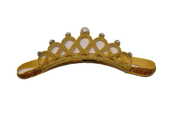 Glitter Crown Headband - Gold Pearl Clear Crystals