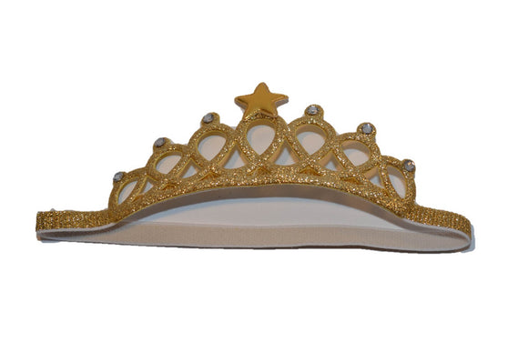 Glitter Crown Headband - Gold with Star and White Crystals