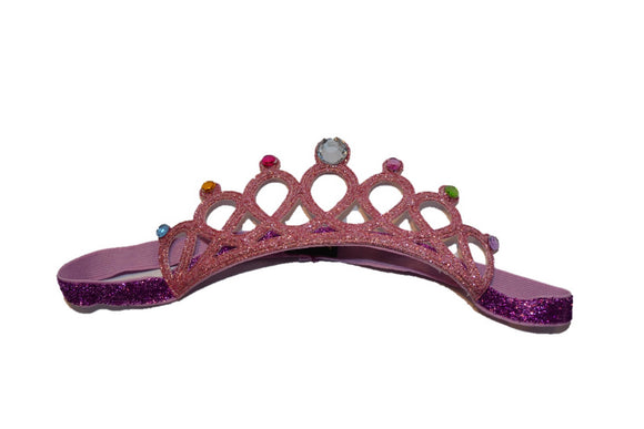 Glitter Crown Headband - Light Pink Fushia Colored Crystals - Dream Lily Designs