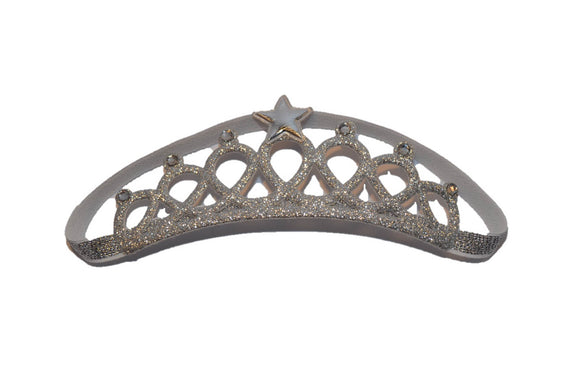 Glitter Crown Headband - Silver with Star and White Crystals
