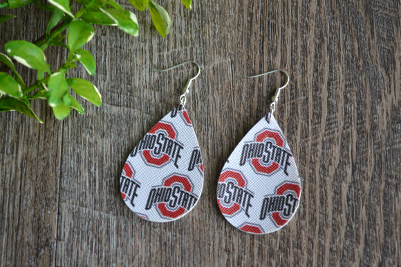 White Ohio State Print Teardrop Faux Leather Earrings - Dream Lily Designs