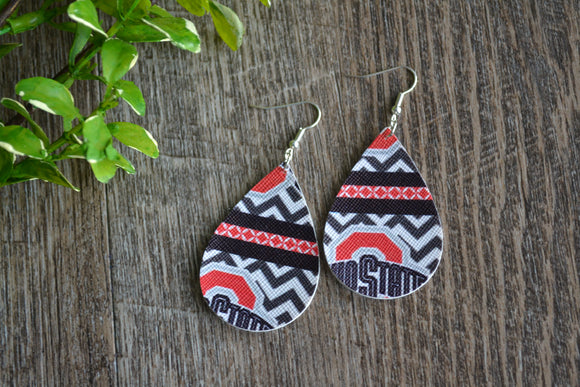 Chevron Ohio State Print Teardrop Faux Leather Earrings - Dream Lily Designs