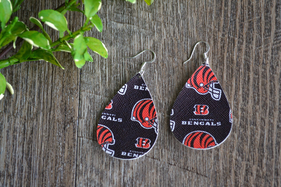 Bengals Football Print Teardrop Sports Faux Leather Earrings - Dream Lily Designs