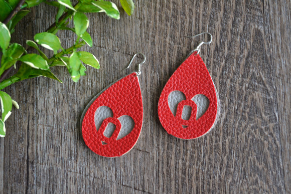 Large OSU Heart Grey Red Double Layer Cutout Teardrop Faux Leather Earrings - Dream Lily Designs