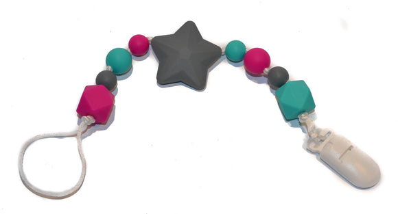 Teething Pacifier Clip - Grey Star, Fushia, Teal