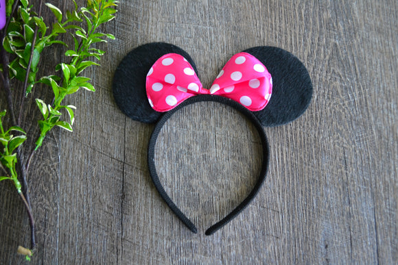 Black Fabric Minnie Ears with Hot Pink Polka Dot Bow - Dream Lily Designs