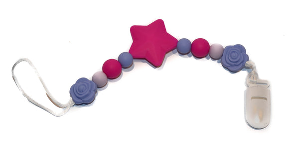 Teething Pacifier Clip - Fushia Pink Star, Purples