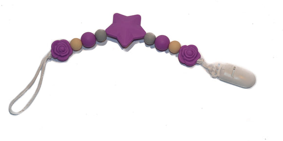 Teething Pacifier Clip - Purple Star, Grey, Tan