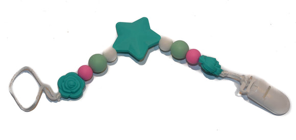 Teething Pacifier Clip - Teal Star, White, Pink, Mint