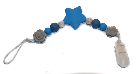 Teething Pacifier Clip - Bright Blue Star, Deep Blue, White