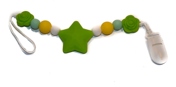 Teething Pacifier Clip - Green Star, Yellow, White, Mint