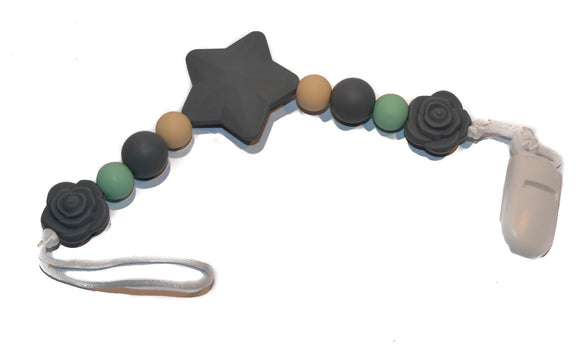 Teething Pacifier Clip - Grey Star, Mint and Tan