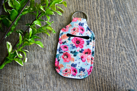 Hand Sanitizer Holder Keychain - Teal Pink Floral - Dream Lily Designs