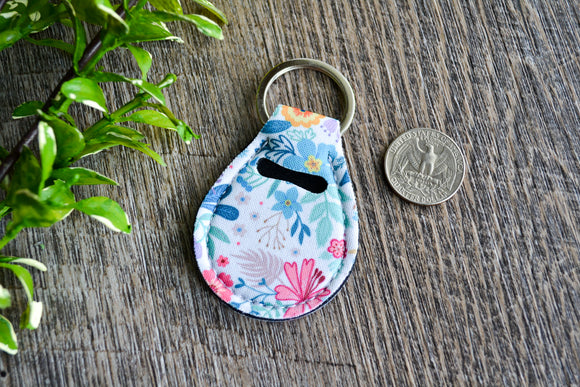 Quarter Holder Keychain - White Teal Pink Floral - Dream Lily Designs