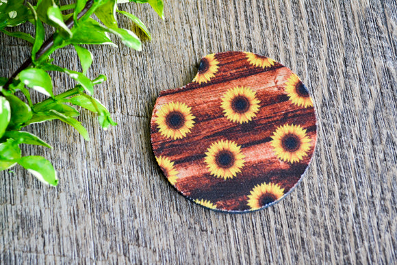 Car Coaster - Wood with Sunflower - Dream Lily Designs