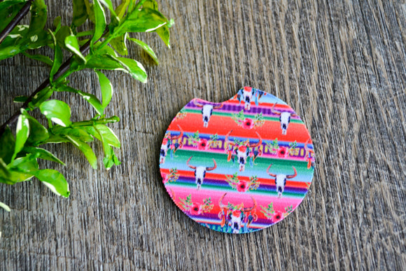 Car Coaster - Colorful Skulls - Dream Lily Designs