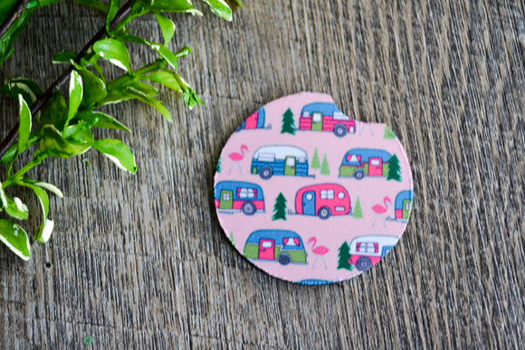 Car Coaster - Pink Camper - Dream Lily Designs