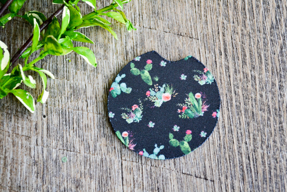 Car Coaster - Black Cactus - Dream Lily Designs