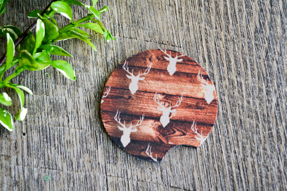 Car Coaster Wood with Deers - Dream Lily Designs