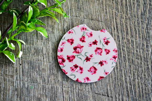 Car Coaster - Pink with Pink Flowers - Dream Lily Designs