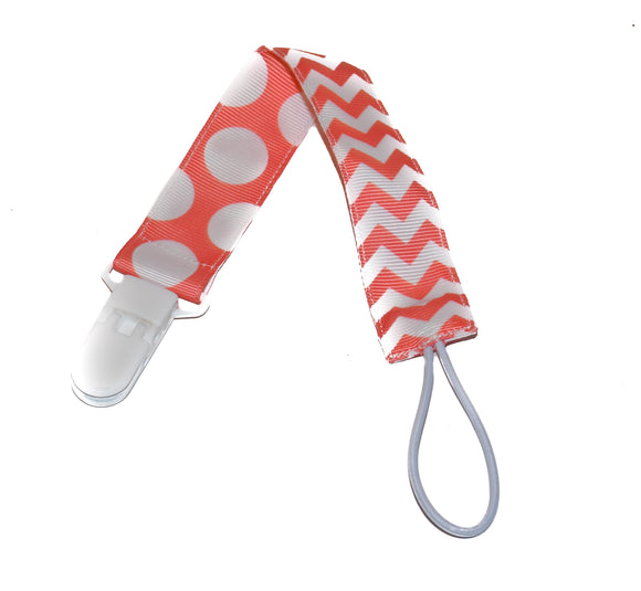 Ribbon Pacifier Clip -  Coral White Chevron Polka Dot
