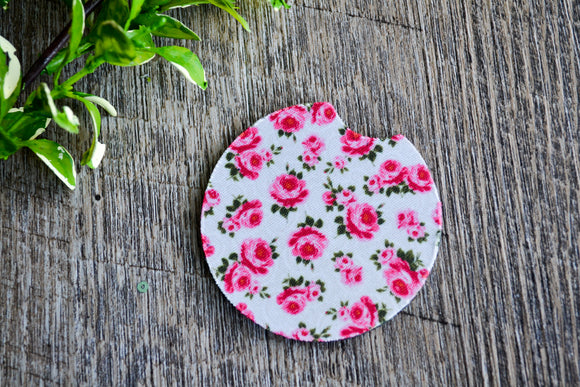 Car Coaster - White Pink Roses - Dream Lily Designs