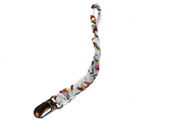 Braided Pacifier Clip - White Flowers