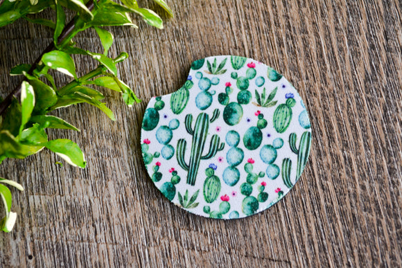 Car Coaster - White Green Cactus - Dream Lily Designs