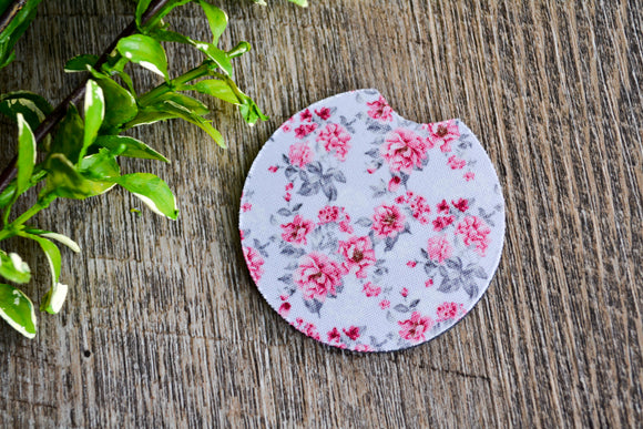 Car Coaster - Grey with Pink Roses - Dream Lily Designs