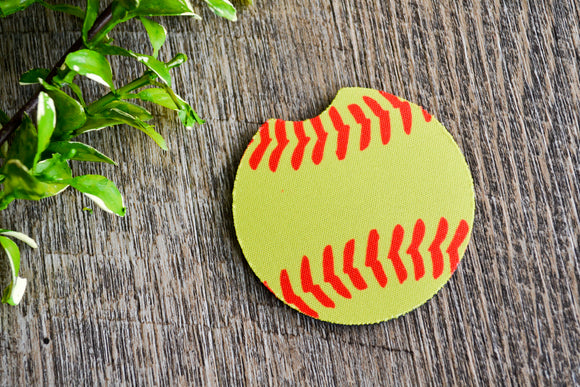 Car Coaster - Softball - Dream Lily Designs