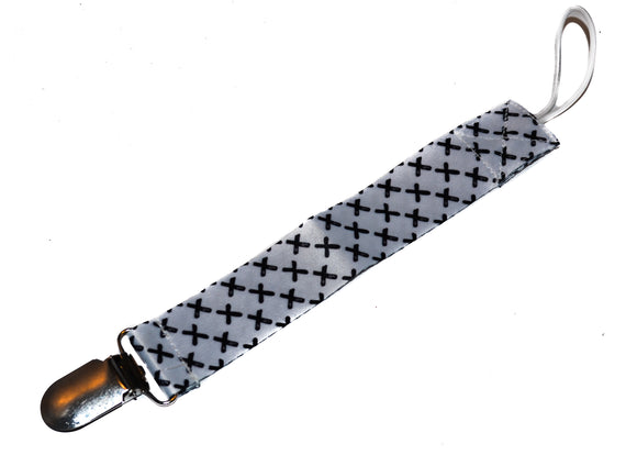Ribbon Pacifier Clip - White with Black Crosses