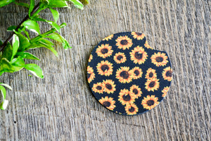 Car Coaster - Black Sunflower - Dream Lily Designs